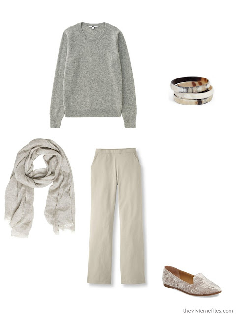 light grey cashmere crewneck sweater with khakis
