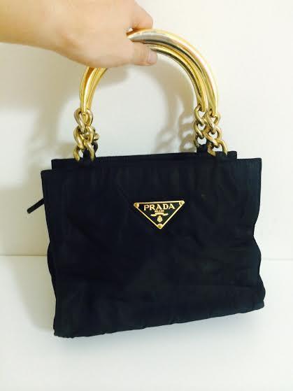 0fd93517c8a4 Truly Vintage: Authentic Prada Nylon Dinner Handbag with Gold Tone ...