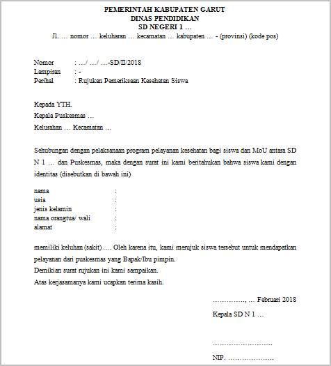 contoh surat rujukan pemeriksaan kesehatan siswa