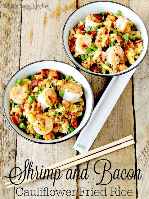 Shrimp and Bacon Cauliflower Fried Rice - All the flavors of your favorite Chinese takeout dish, without the carbs and calories from www.bobbiskozykitchen.com