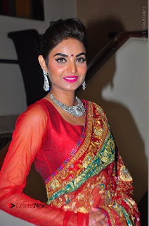 Model Sharon Fernandes Stills in Red Saree at Trendz Exhibition Launch  0025.JPG