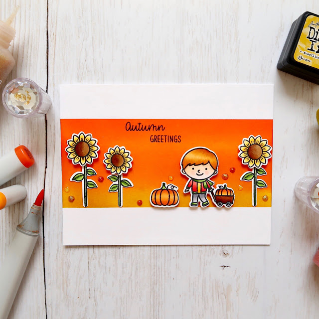 Sunny Studio Stamps: Fall Kiddos Happy Harvest Customer Card by Laura Sterckx