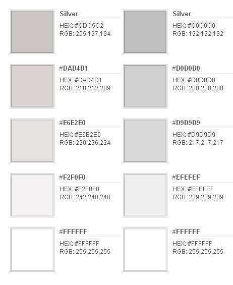 Sobre Colores: El color plata