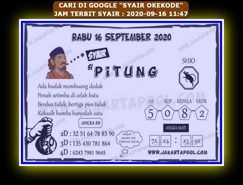 Kode syair Hongkong Rabu 16 September 2020 330