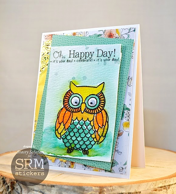 SRM Stickers Blog - Watercolored Owl Card by Stacey - #card #birthday #stamped #janesdoodles #owl #stickers #doilies #gold #watercolor
