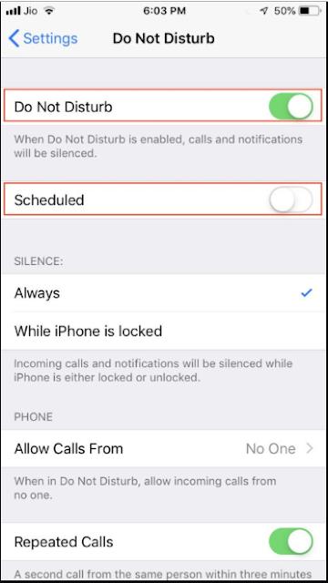 """طريقة تفعيل ميزة  """"Do Not Disturb"""" على أجهزة iOS 12"""