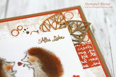 Herbstkarte Igel; StampinUp Herbstkatalog; Stampinup recklinghausen; Stempel-biene; Stampinup Demonstrator; Timeless Textures