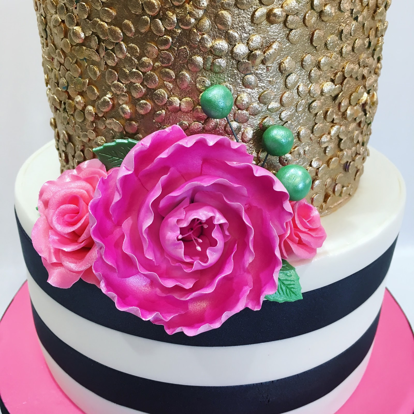 MyMoniCakes: Black and white striped and gold sequin cake