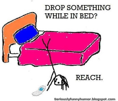 Dropped something while in bed? Trying to reach it - funny photo!
