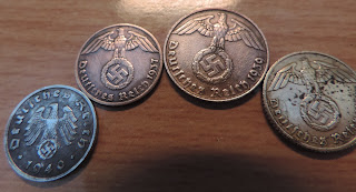 eagle and swastika minted coins wartime nazi pfennigs
