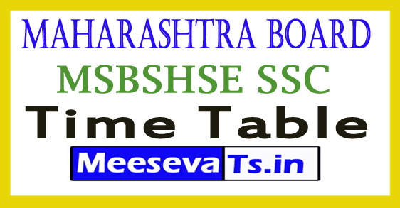 Maharashtra Board 10th Date Sheet 2019 SSC Time Table