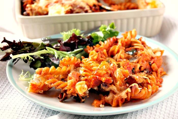 Chorizo, Mushroom and Mozzarella Pasta Bake