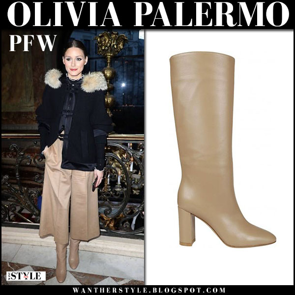 Olivia Palermo in black jacket, beige cropped pants and beige boots gianvito rossi laura fashion week outfits march 4