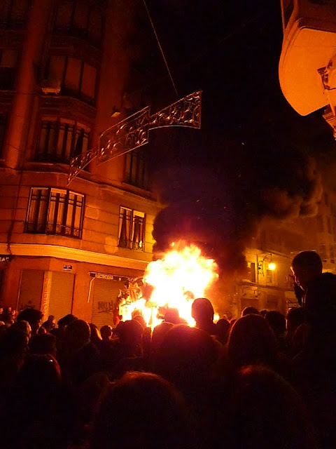 Burning all the Fallas at Las Fallas in Valencia, Spain