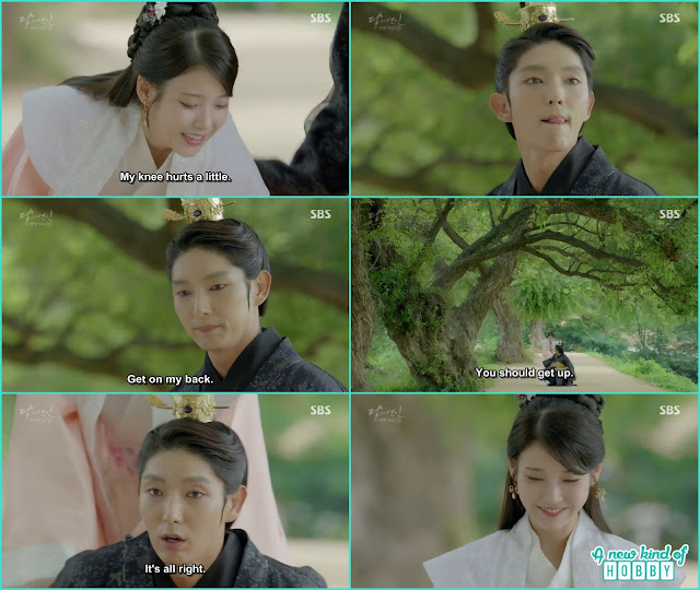 hae soo knees hurt then king wang so see here and there and then ask to get on my back - Moon Lovers Scarlet Heart Ryeo - Episode 20 Finale (Eng Sub)