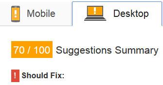 Google PageSpeed score for desktop