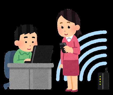 Wi-Fiネットワークを使う人たちのイラスト