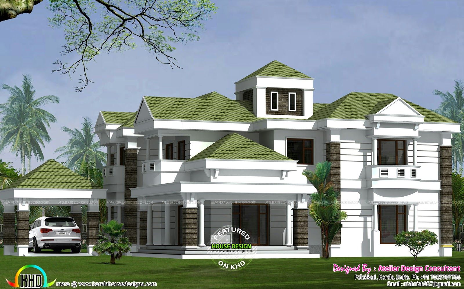 colonial model green roof home - Home Design Consultant