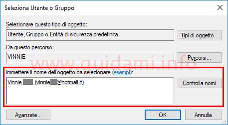 Finestra Seleziona Utente o Gruppo Windows