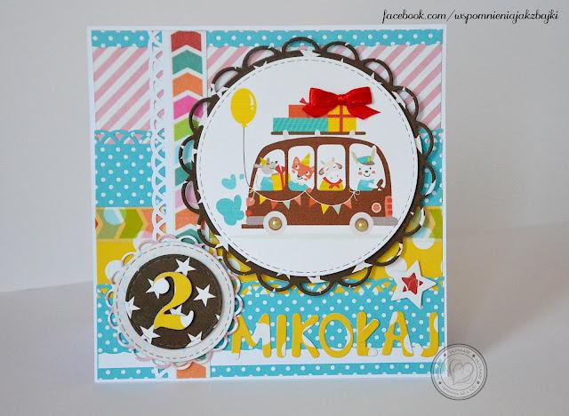 Karteczka pełna kolorów na 2gie urodzinki Mikołaja