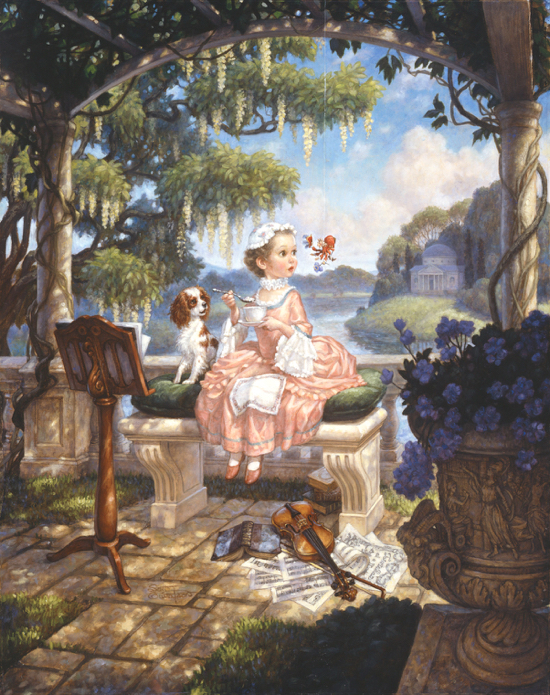 "Painting of ""Little Miss Muffet"" © 1991, Scott Gustafson. All rights reserved"