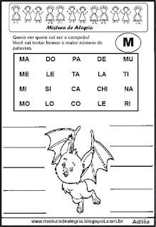 Formar palavras com a letra m