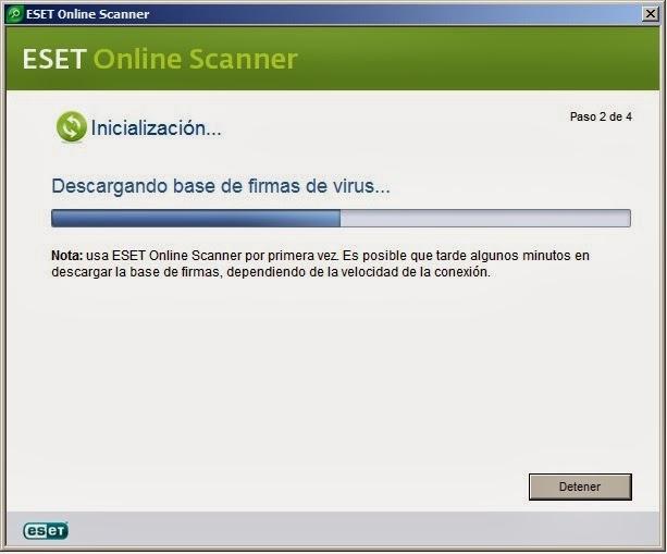 Base de datos de firmas ESET Online Escáner