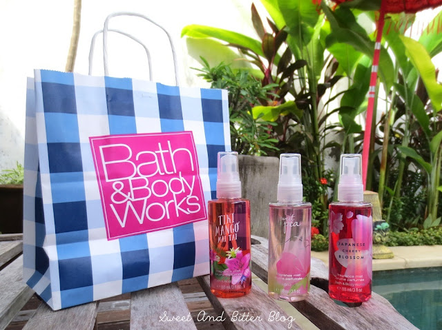 3 Bath & Body Works Fragrance Mist - Tiki Mango Mai Tai, Japanese Cherry Blossom, and Sweet Pea