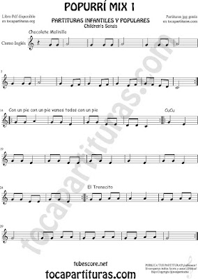 Popurrí Mix Partitura de Corno Inglés Chocolate Molinillo, Con un Pie y El Trenecito Infantil Partituras Mix 1 Sheet Music for English Horn Music Scores