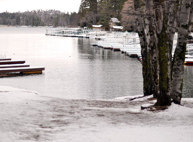 first snow on the lake