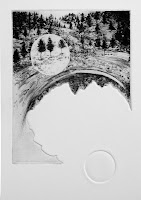 Paisaje I, grabado aguafuerte, exposición colectiva Bon Voyage, Sala Conca