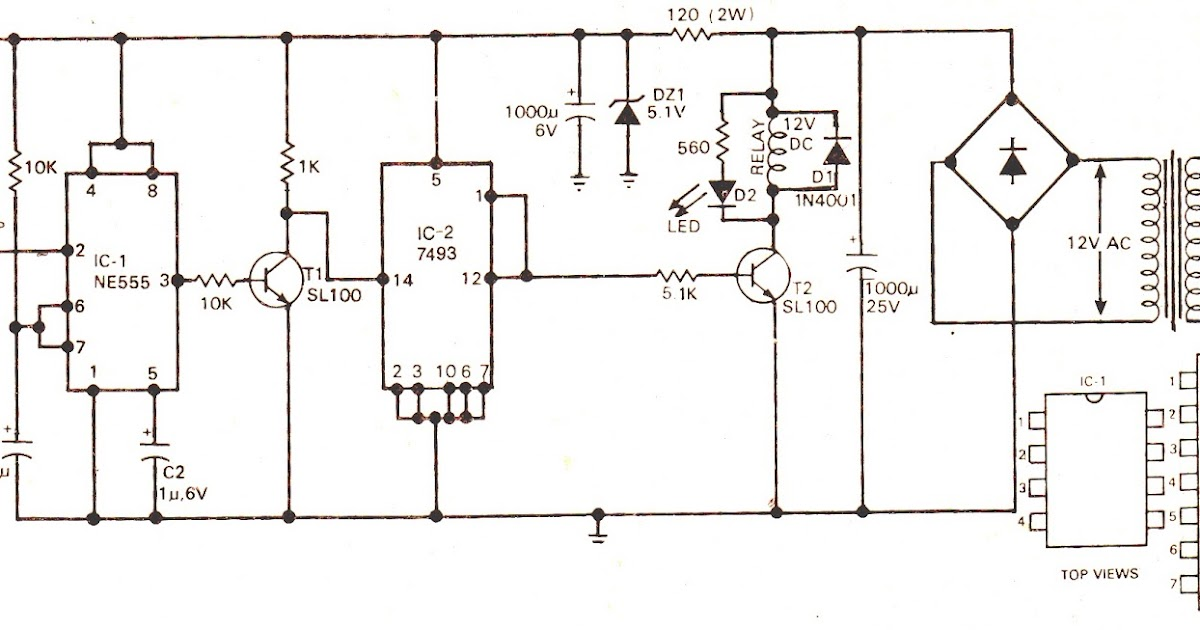 Schematic Diagram: Simple Touch Operated Switch Circuit