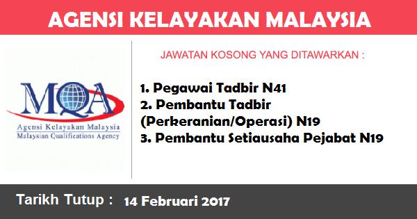 Jawatan Kosong di Agensi Kelayakan Malaysia (MQA)