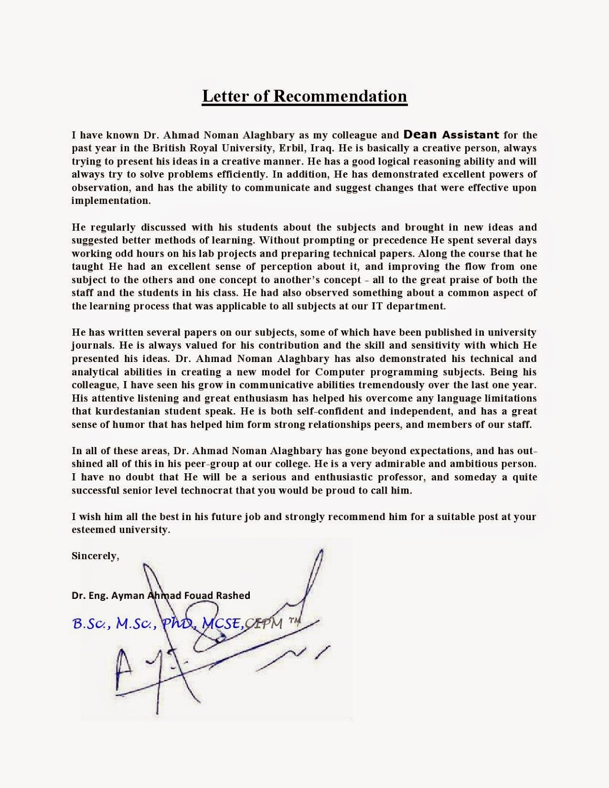 Recommendation Letter For Masters Degree In Computer