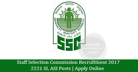 2221 Sub-Inspector,, ASI Posts vacancies  | Apply Online  before 15-05-2017