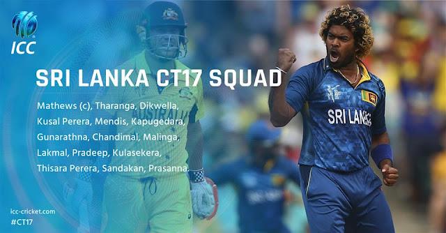 Sri Lanka Team Squad for ICC Champions Trophy 2017