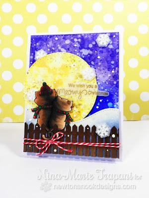Meowy Christmas card by Nina-Marie Trapani | Newton's Christmas Cuddles stamp set by Newton's Nook Designs #newtonsnook