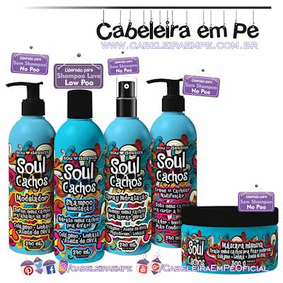 Linha Soul Cachos - Sou Dessas (Shampoo liberado para Low Poo - Máscara, Creme para Cachear, Spray hidratante e Modelador liberados para No Poo)