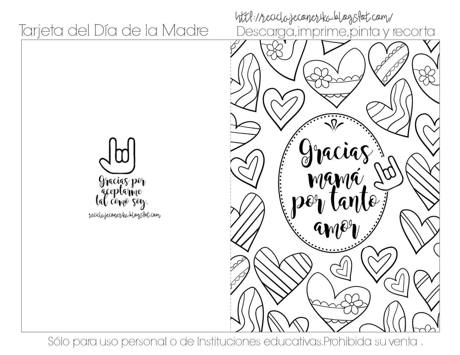 Reciclando con Erika : Tarjetas para colorear del DÍA DE LA MADRE ...