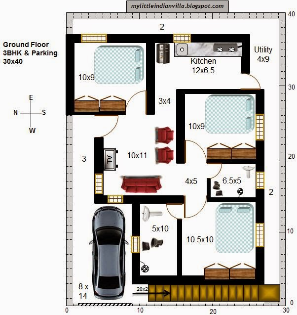 15 X 40 House Plan East Facing With Car Parking: My Little Indian Villa: #36#R29 3BHK In 30x40 (West Facing
