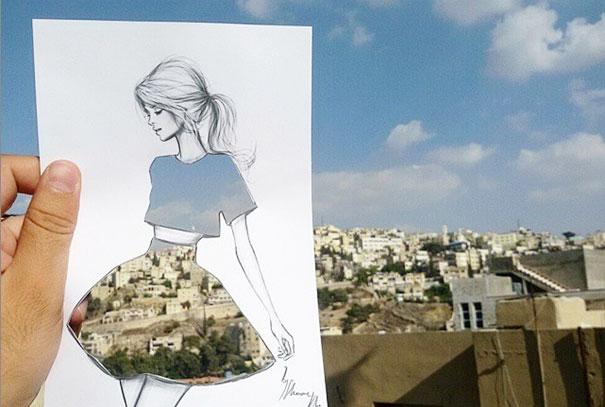 Ilustrator de moda termina sus vestidos recortados con nubes y edificios