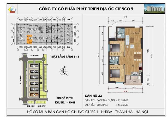 Sơ đồ thiết kế chi tiết căn hộ 32 chung cư B2.1 HH03 Thanh Hà
