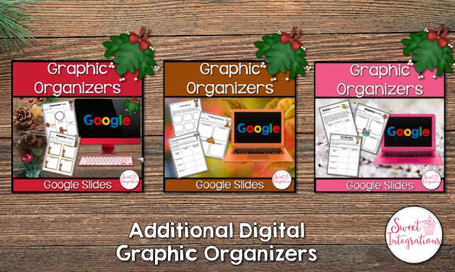 """Additional Digital Graphic Organizers"" with three options; Christmas, fall, and spring"