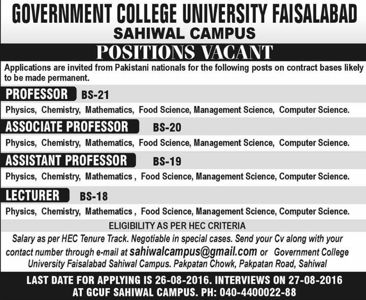 Jang, Associate Professor, Professor Jobs, University Jobs, sahiwal, FaisalAbad,