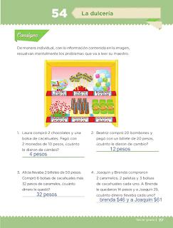 Respuestas Apoyo Primaria Desafíos matemáticos 3ro Grado Bloque IV Lección 54 La dulcería
