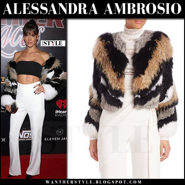 Alessandra Ambrosio in striped fur jacket cinq a sept apollo and white trousers bottega veneta knot clutch what she wore