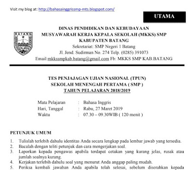 Try out, TPUN, SMP, MTs, Inggris, Perfect