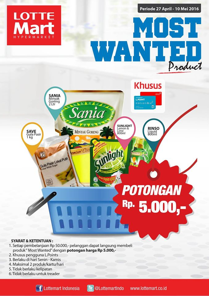 LOTTEMART Promo Most Wanted Product Periode 27 April – 10 Mei 2016