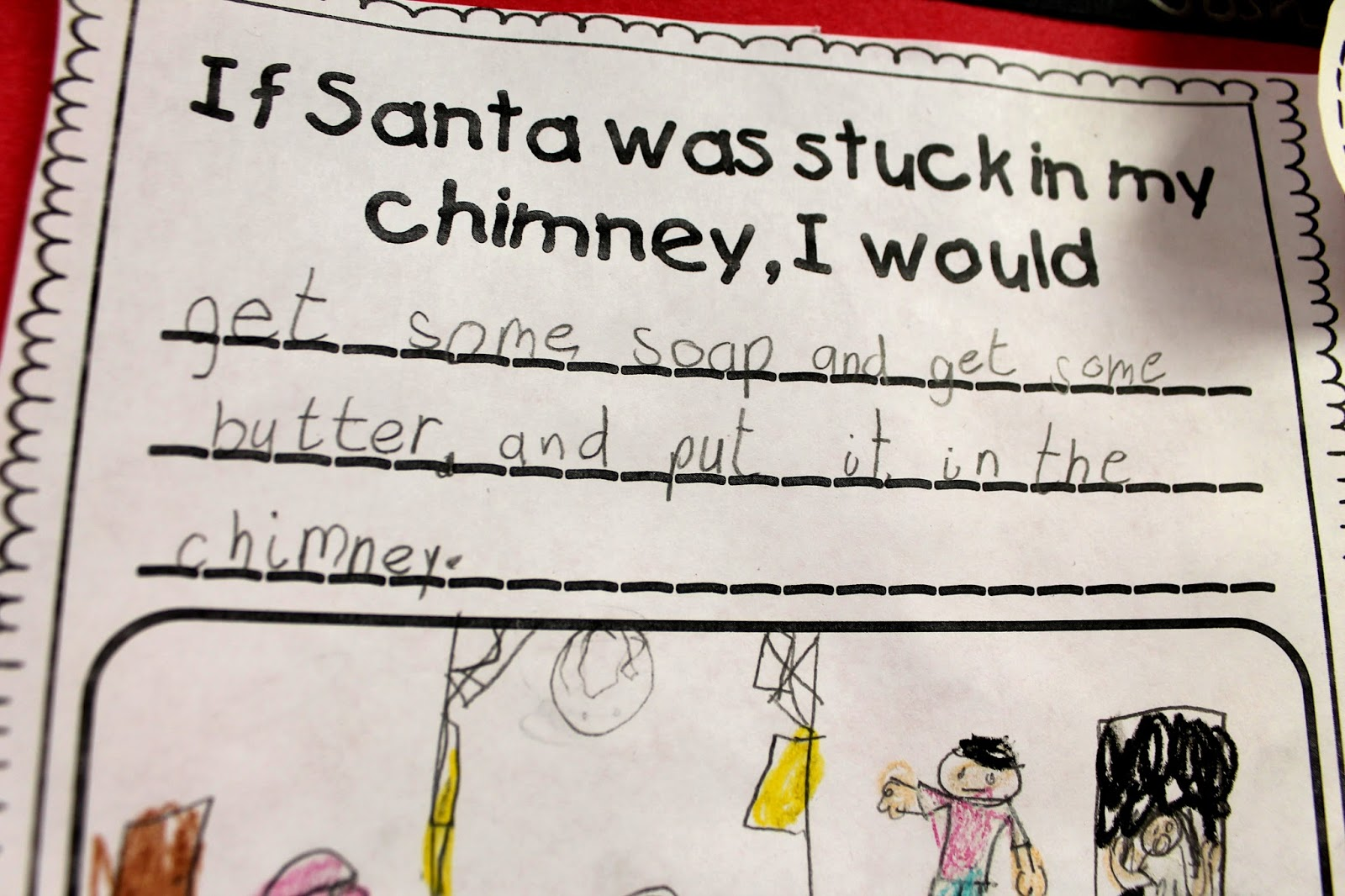 Santa in Chimney Writing Paper