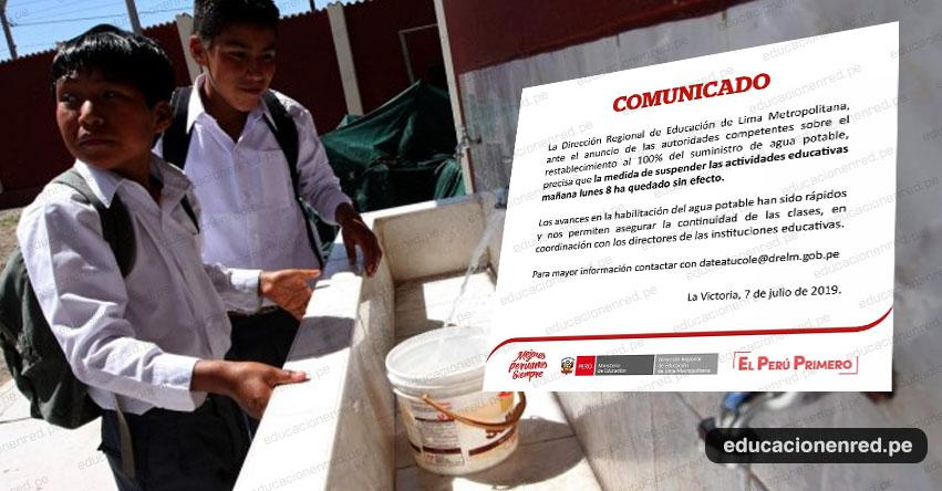 Este lunes 8 de julio sí habrá clases en Lima Metropolitana según comunicado DRELM